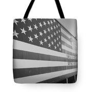 American Flag At Nathan's In Black And White Tote Bag