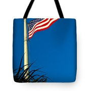 American Flag Flying Over The Palms Tote Bag