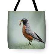 American Robin With Worms Tote Bag