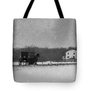 Amish Buggy Black And White Tote Bag