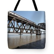 Amtrak Train Riding Atop The Benicia-martinez Train Bridge In California - 5d18829 Tote Bag