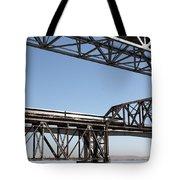 Amtrak Train Riding Atop The Benicia-martinez Train Bridge In California - 5d18835 Tote Bag