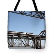 Amtrak Train Riding Atop The Benicia-martinez Train Bridge In California - 5d18837 Tote Bag