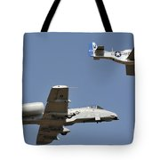 An A-10 Thunderbolt And A P-51 Mustang Tote Bag