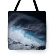 An Aerial View Captures A Large Wave Tote Bag