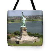An Aerial View Of The Statue Of Liberty Tote Bag