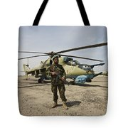 An Afghan Army Soldier Guards A Couple Tote Bag