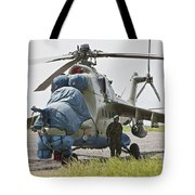 An Afghan Army Soldier Guards A Mi-35 Tote Bag