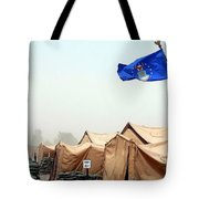 An Air Force Flag In Tent City Waves Tote Bag