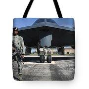 An Airman Guards A B-2 Spirit Tote Bag