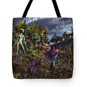 An Alien Being Surveys The Colorful Tote Bag by Mark Stevenson