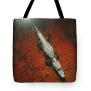 An Alligator Walks On The Muddy Bottom Tote Bag