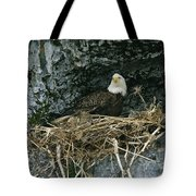 An American Bald Eagle Perches Tote Bag