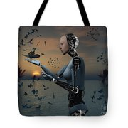 An Android Takes A Closer Look Tote Bag