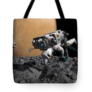 An Astronaut Makes First Human Contact Tote Bag