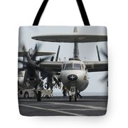 An E-2c Hawkeye Aircraft On The Flight Tote Bag