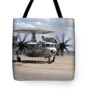 An E-2c Hawkeye On The Runway At Cannon Tote Bag