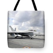 An Ea-18g Growler Takes Off From Uss Tote Bag