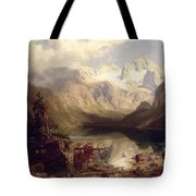 An Extensive Alpine Lake Landscape Tote Bag