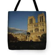 An Exterior View Of Notre Dame Tote Bag