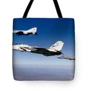 An F-14 Tomcat And Two F-4 Phantom IIs Tote Bag