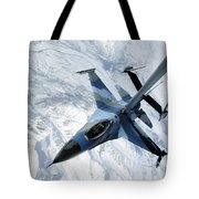 An F-16 Aggressor Sits In Contact Tote Bag