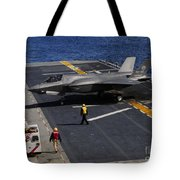 An F-35b Lightning II Makes A Vertical Tote Bag