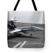 An Fa-18a+ Hornet Lands Aboard Tote Bag