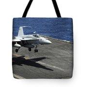 An Fa-18c Hornet Lands Aboard Tote Bag