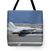 An Fa-18c Hornet Lands Aboard Uss Tote Bag