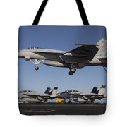 An Fa-18e Super Hornet Comes In For An Tote Bag
