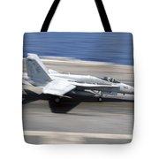 An Fa-18e Super Hornet Lands Aboard Uss Tote Bag