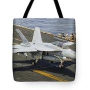 An Fa-18e Super Hornet Trap Landing Tote Bag