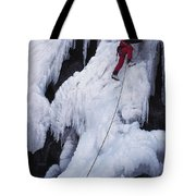 An Ice Climber On Habeggers Falls Tote Bag