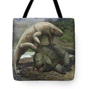 An Inostrancevia Attacks A Scutosaurus Tote Bag