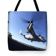 An Mv-22 Osprey Lands Aboard The Uss Tote Bag