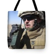 An Officer Relays Commands Tote Bag