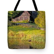 An Old Barn Reflected In The Pond Water Tote Bag