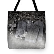 An Old Cemetery With Grave Stones And Fog Tote Bag
