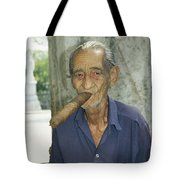 An Old Man Smokes An Over-sized Cigar Tote Bag