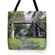An Old Stone Bridge Over A Canal In Alleppey Tote Bag