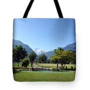 An Open Field In Interlaken With A View Of The Mountains In The Background Tote Bag