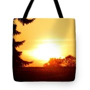 Photograph Of The White Hot Sun On An Orange Horizon With Lens Flare Tote Bag