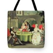 An Ornamental Garden With Elegant Figures Seated Around A Card Table Tote Bag