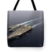 An Underway Replenishment With Ships Tote Bag