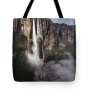 Angel Falls, With Plane For Scale Tote Bag