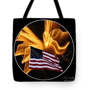 Angel Fireworks And American Flag Tote Bag by Rose Santuci-Sofranko
