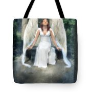 Angel On Stone Bench Looking Up Into The Light Tote Bag