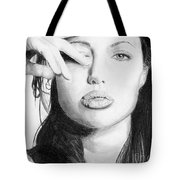 Angelina Jolie Pencil Art Tote Bag