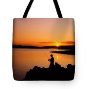 Angler At Sunset, Roaring Water Bay, Co Tote Bag